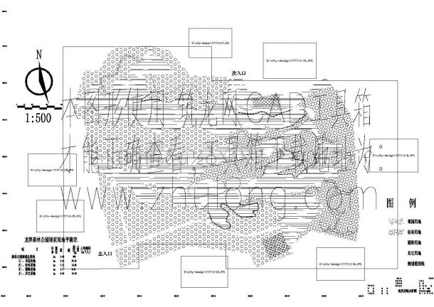 宣威市龙津森林公园景观园林规划设计cad施工图(含效果图,含水电设计)-图一