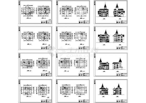 大型楼盘别墅户型CAD图(共12张图纸)-图一