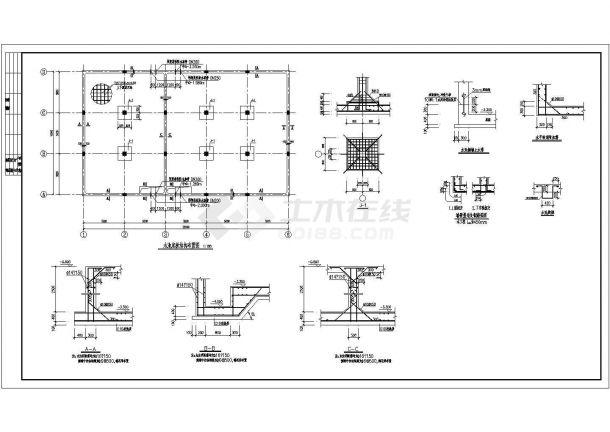 某电信局地下消防储水池结构设计施工图-图二