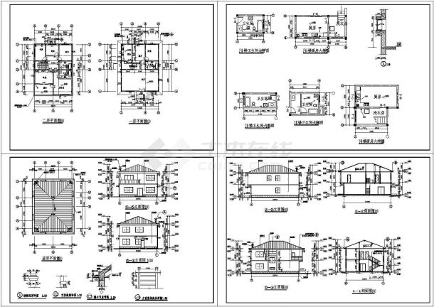 长12.9米 宽10.2米 2层坡屋顶别墅建筑施工图【平立剖 厨卫节点大样】-图一
