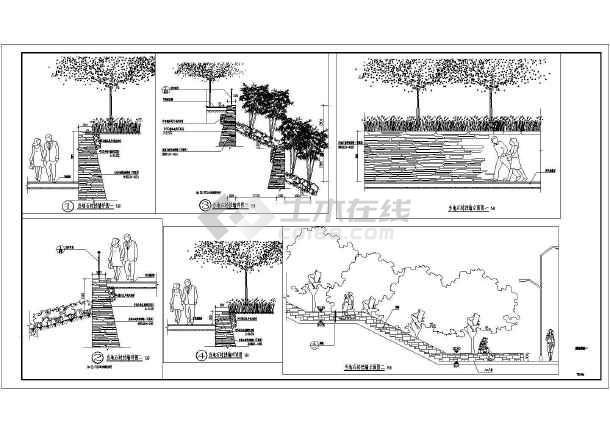 四种挡土墙园林设施设计施工详图(毛石、清水混凝土)-图一