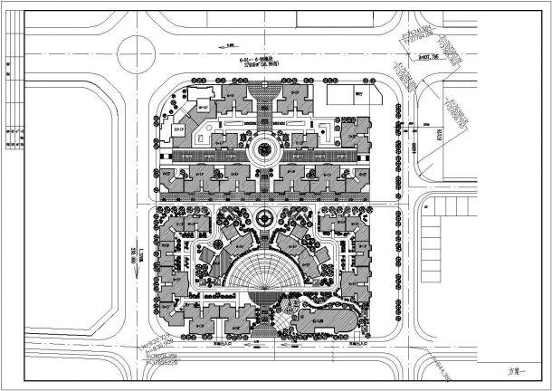 某地小区规划建筑总平面图(共2张)-图一