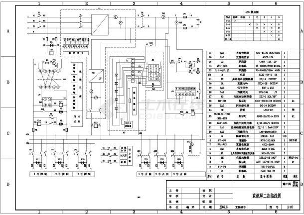 直流屏二次接线CAD图,含数量表-图一