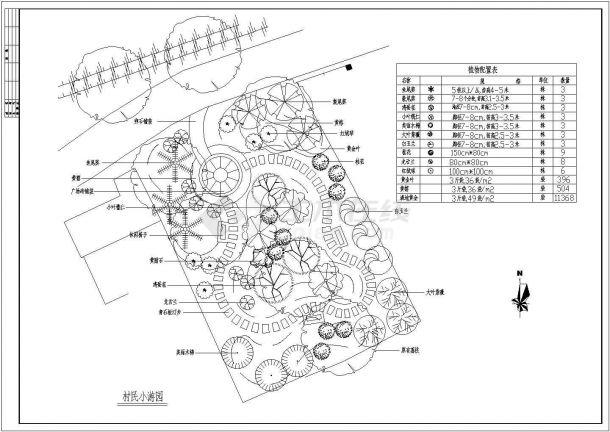 村民小游园景观绿化CAD设计图纸-图一