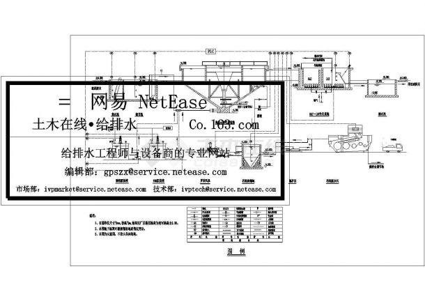 某造纸厂水处理工艺流程cad图纸给排水图-图一