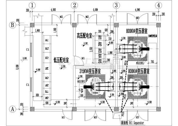 某变电所施工大样图块-变压器电气设计图-图二