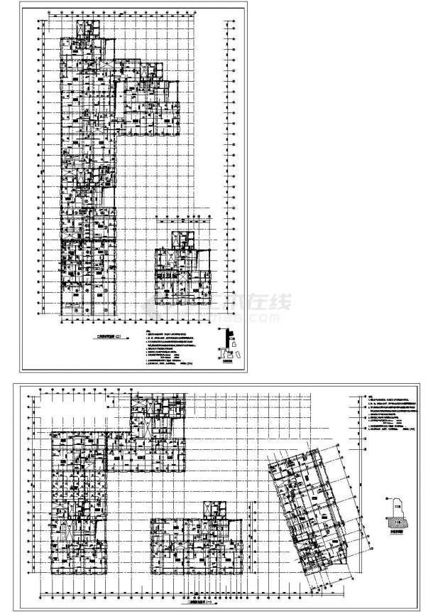 高层办公楼建筑框架结构设计施工CAD图纸-图二