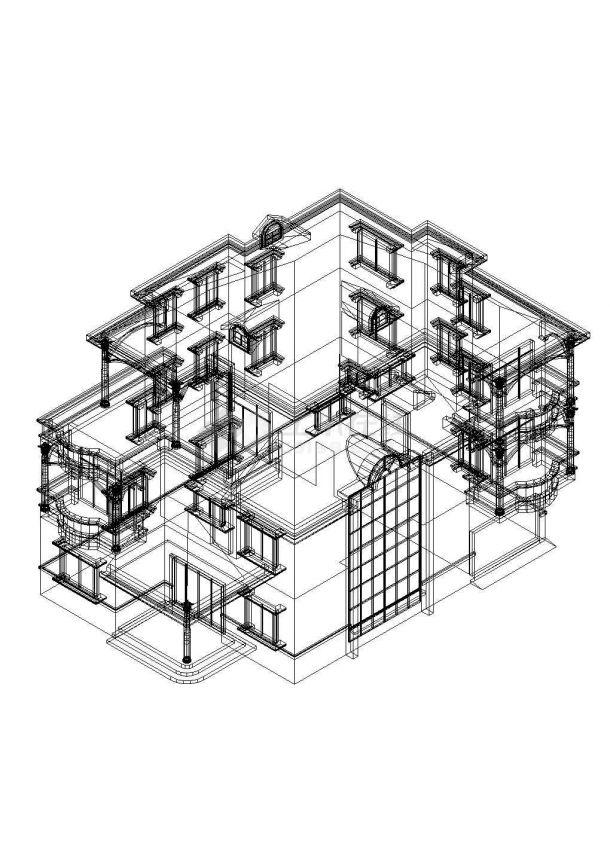 三层别墅扩出图带结构.模型CAD图-图一