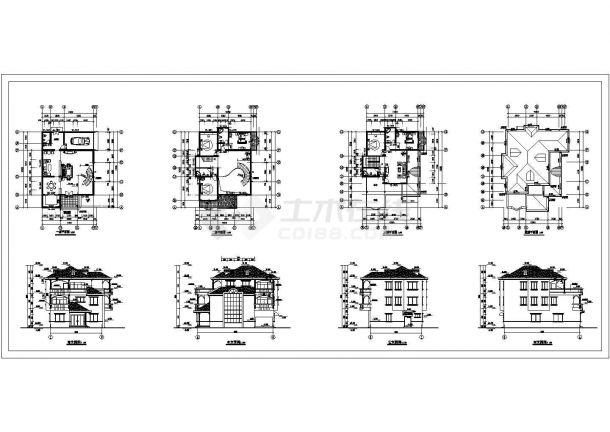 三层别墅扩出图带结构.模型CAD图-图二