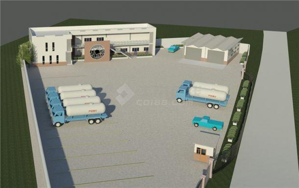 加油站服务区BIM项目模型Revit-建筑-图一