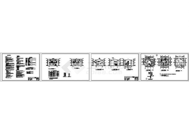 江西某农村二层别墅建筑施工设计cad图纸,共4张-图一