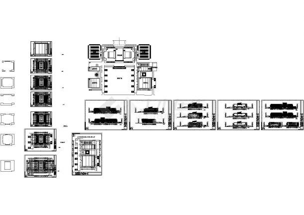 某市政广场体育中心建筑设计施工图,共14张图纸-图一