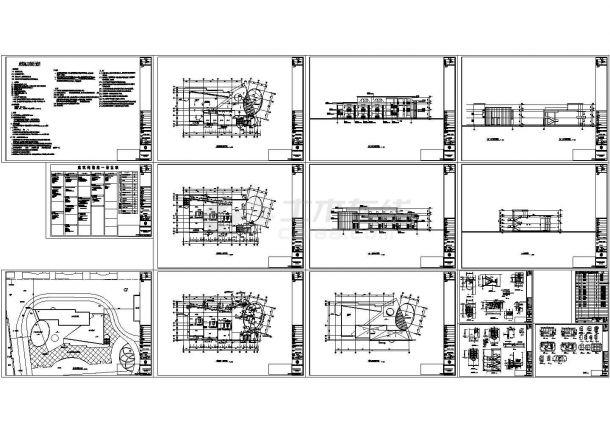 1702平方米三层幼儿园施工cad图,共十五张-图一