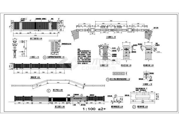 长15米 宽3米 中学校门 围墙建筑施工图-图一