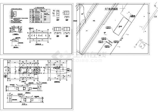 长24.805米 宽5.04米 单层厂区大门+值班室建筑施工图-图一