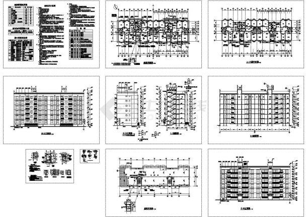 某六层砖混结构住宅楼(面积3326.14平方米)设计cad全套建筑施工图(含设计说明)-图一