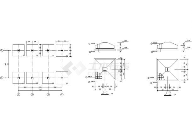 综合楼至副井井口房联廊结构CAD图(含PKPM计算文件)-图一