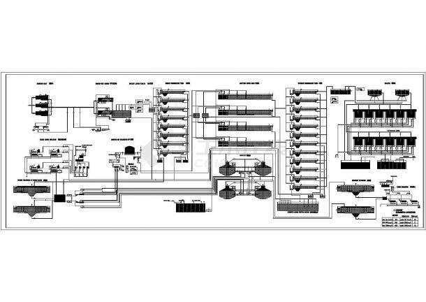 青岛市某污水处理厂工艺流程CAD图-图一