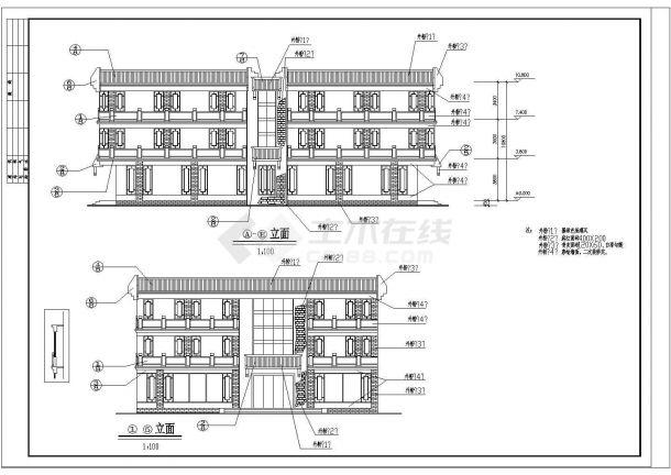 西安古建营业厅设计cad施工图纸-图一