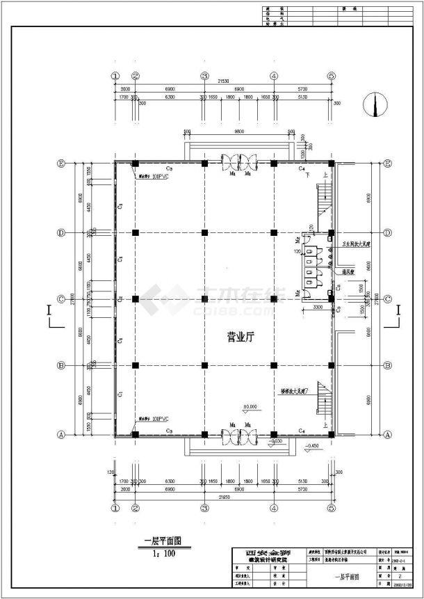 西安古建营业厅设计cad施工图纸-图二