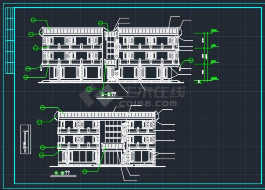 西安古建营业厅建筑CAD设计施工图-图二