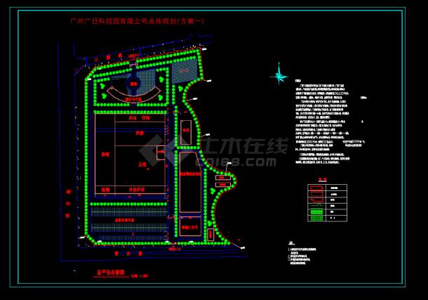 广州广日科技园规划设计cad图纸-图一