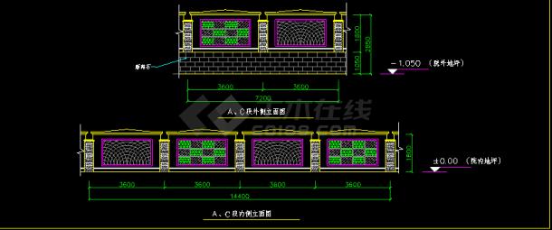 常见围墙铁艺栏杆cad设计立面详图-图二