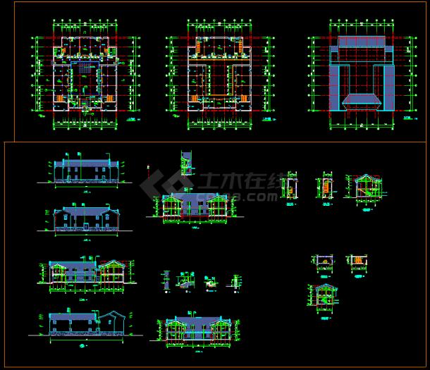 某仿古建筑施工CAD设计平面图纸-图一