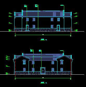 某仿古建筑施工CAD设计平面图纸-图二