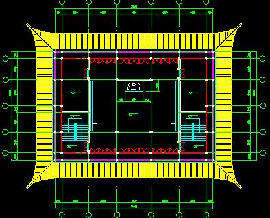 某市仿古建筑施工设计cad平面图一-图二