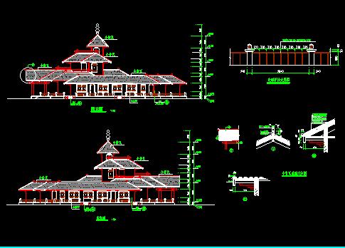 某地仿古建筑施工设计CAD平立图纸-图二