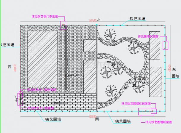 铁艺大门、砖砌围墙,钢筋混凝土柱子结构设计图-图二