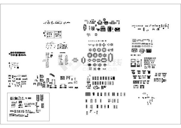室内沙发家具装修CAD平面CAD图库-图一
