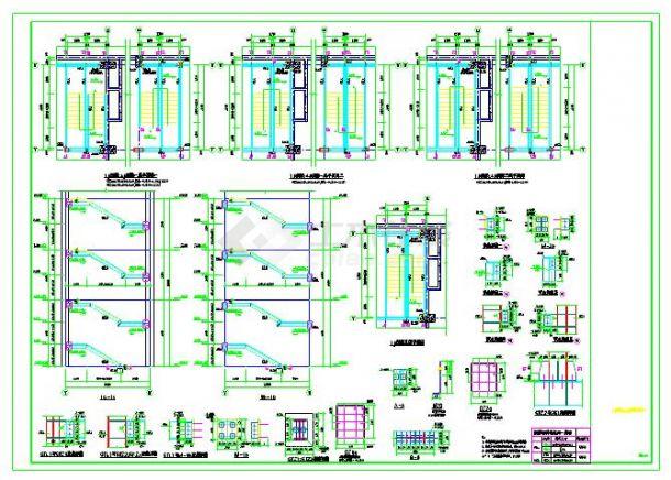 常见钢结构楼梯以及复杂带混凝土柱子楼梯详图-图一