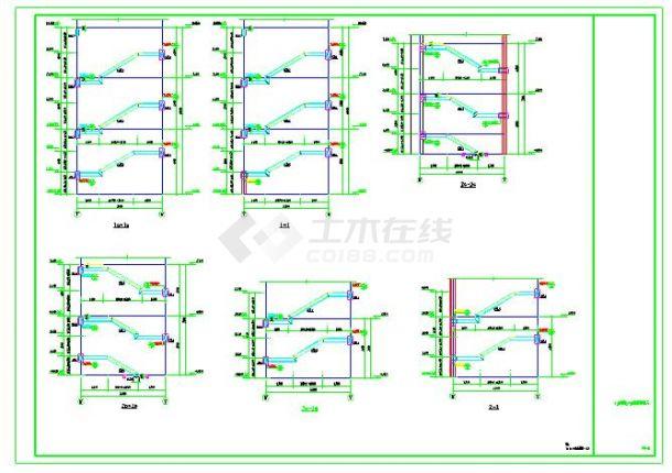 常见钢结构楼梯以及复杂带混凝土柱子楼梯详图-图二