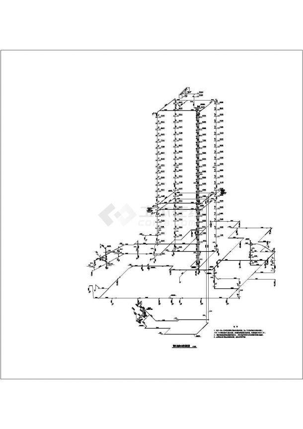 上海某高层建筑给排水成套图纸-图二