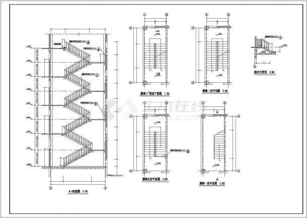 某楼梯、电梯、卫生间大样CAD图纸-图一