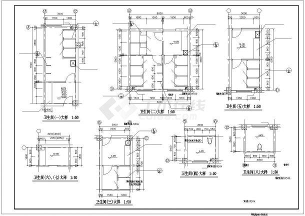 某楼梯、电梯、卫生间大样CAD图纸-图二