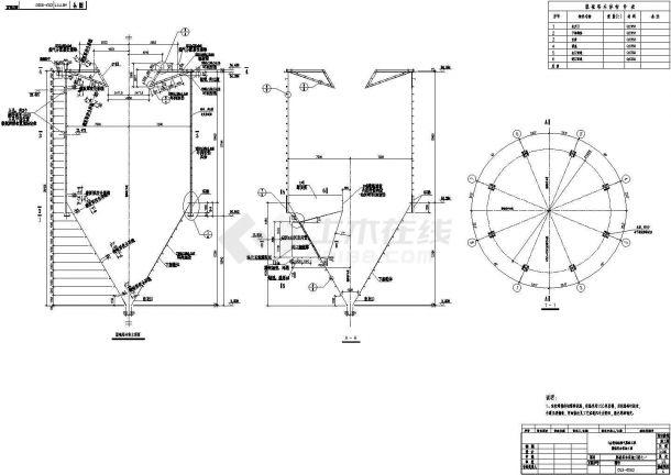 烧结机烟气脱硫塔本体钢结构施工图-图二