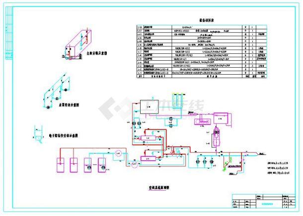 制冷机房平面布置和系统原理图-图一