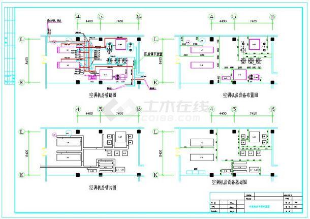 制冷机房平面布置和系统原理图-图二