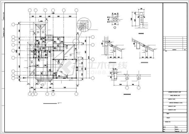 某三层框架结构别墅(A4型)全套建筑图纸-图一