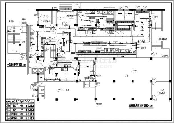 某酒店西餐厨房电气设计图纸(强电部分)-图一