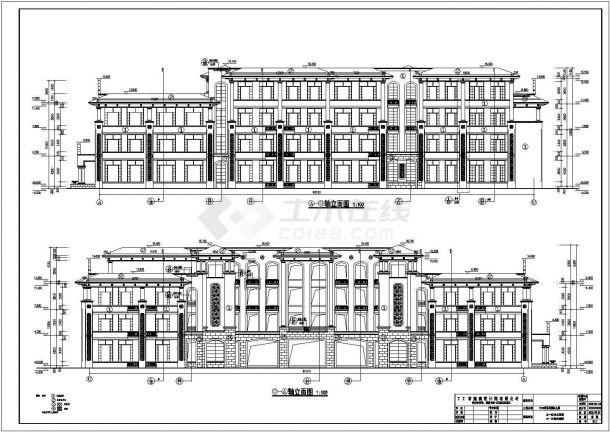 某地三层框架结构幼儿园建筑设计施工图-图二