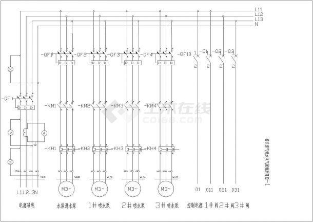 电收尘喷水图纸(含窑头废气喷水电气控制原理图)-图二