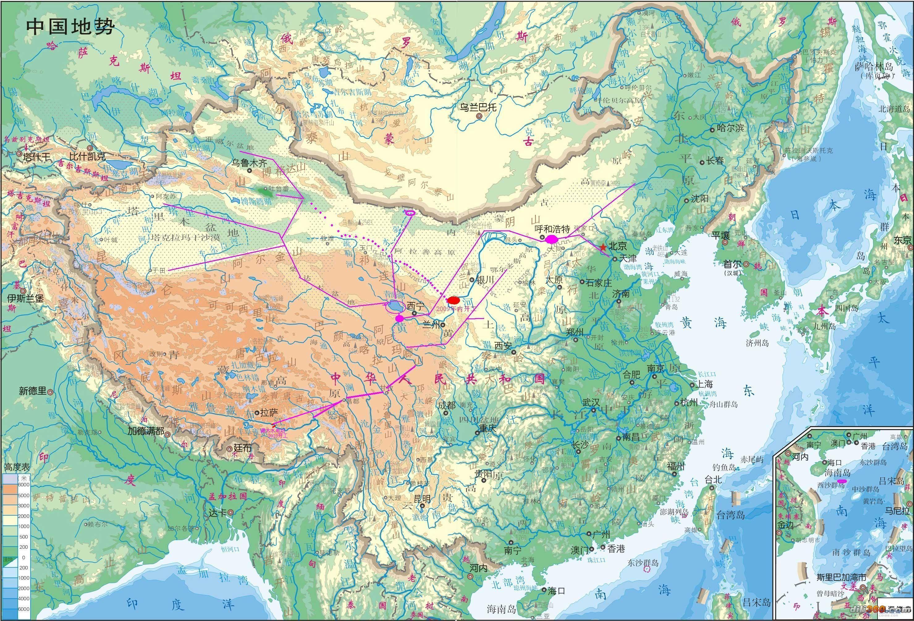 大西线调水工程地图