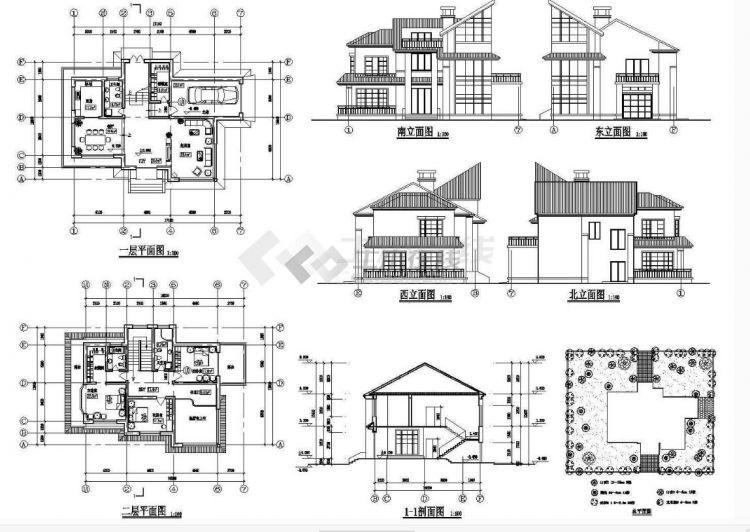 600套别墅建筑CAD图纸施工图大全(农村自建房、住宅楼建筑图、别墅户型图、方案图...
